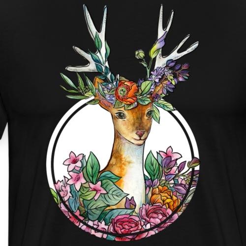 Oktoberfest Design mit Hirschgeweih und Blumen - Männer Premium T-Shirt