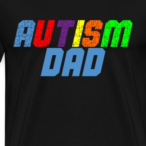 Autism Dad - Awareness colored puzzle - Men's Premium T-Shirt