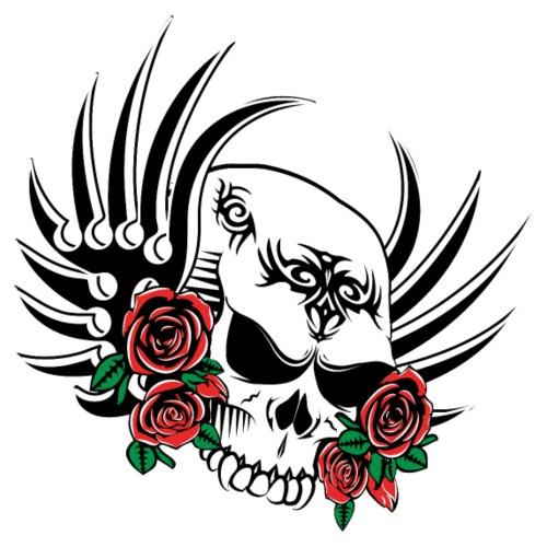Tribal Skull with Roses - Men's Premium T-Shirt