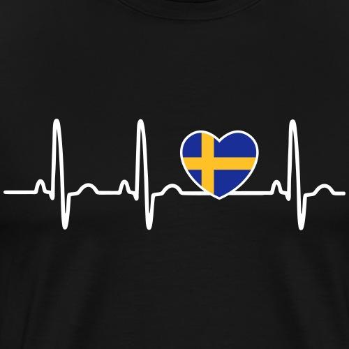 EKG hjärta Sverigeflagga - Premium-T-shirt herr