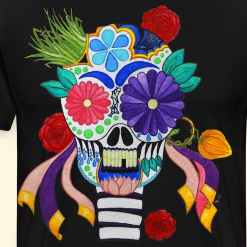 Crâne Mexicain de la Fête des Morts - T-shirt Premium Homme