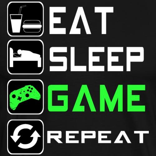 Eat sleep game repeat - gaming Gamer Shirt - Männer Premium T-Shirt