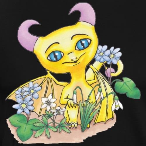 Söt drake med blommor - Premium-T-shirt herr