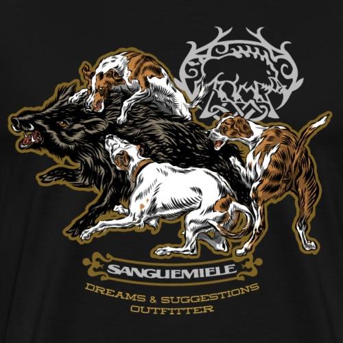 wild_boar_and_hounds - Maglietta Premium da uomo