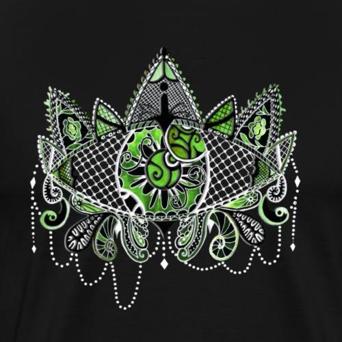 Oeil dentelle Vert Version Noir - T-shirt Premium Homme