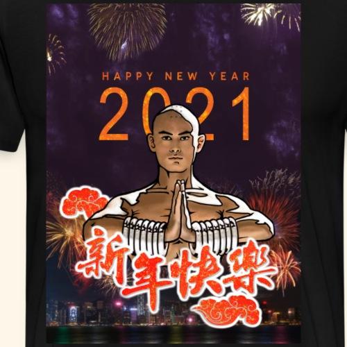 Gordon Liu som SanTe - Warrior Monk - Happy NewYear - Herre premium T-shirt