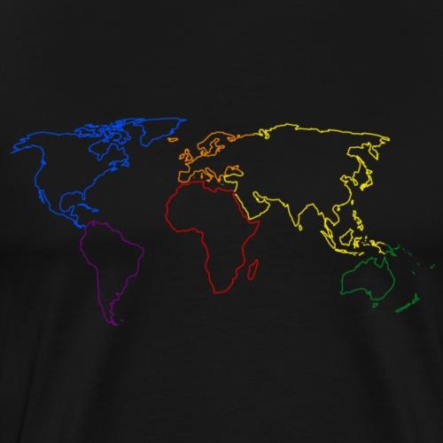 Rainbow Map of the World - Men's Premium T-Shirt