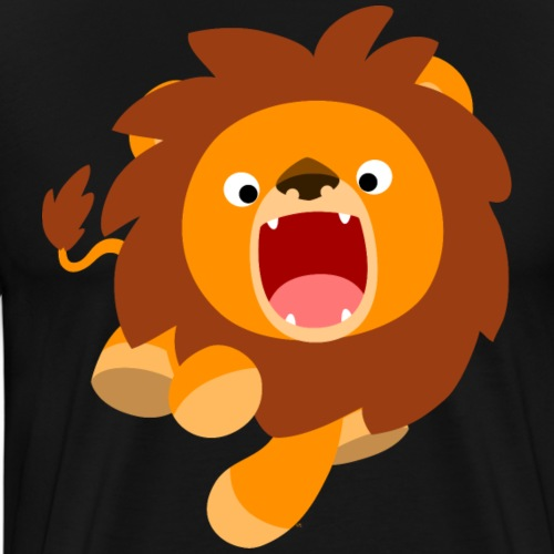 Cute Frisky Cartoon Lion by Cheerful Madness!! - Men's Premium T-Shirt