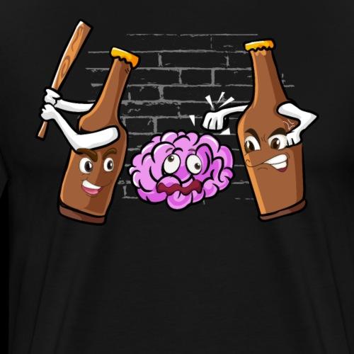 Craft Bier Flaschen Prügeln Gehirn Alkohol Saufen - Männer Premium T-Shirt