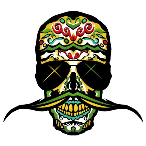 tete de mort mexicaine skull crane moustache moust - T-shirt Premium Homme