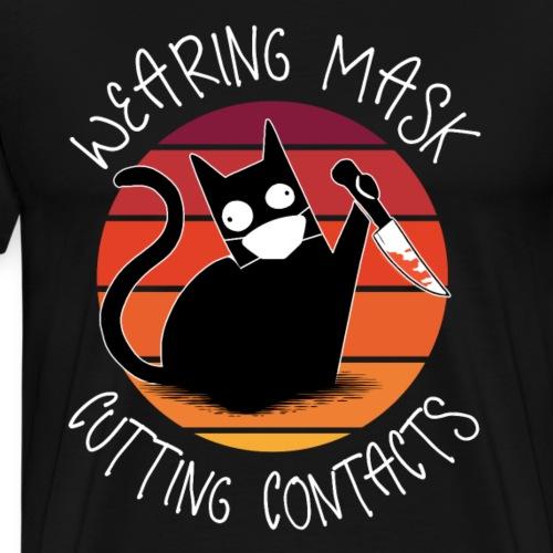 Lustig Killer Katze mask cutting contacts Geschenk - Männer Premium T-Shirt