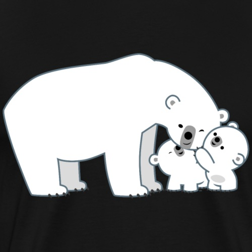 Cute Polar Bear Mum And Cubs by Cheerful Madness!! - Men's Premium T-Shirt