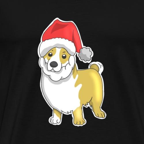 Corgi mit Weihnachtsmann Mütze