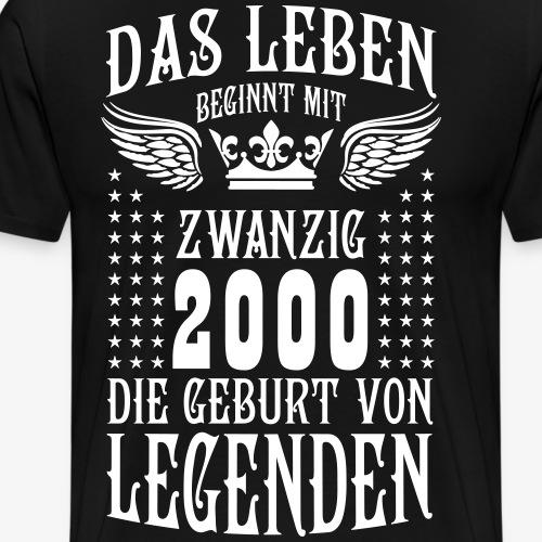 Das Leben beginnt mit 20 Geburt von Legenden 2000 - Männer Premium T-Shirt