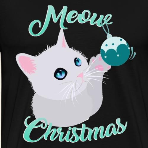 Meow Christmas Gato - Camiseta premium hombre