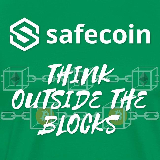 Safecoin Think Outside the Blocks (white)