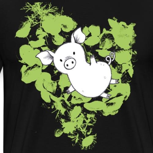 Schweinchen mit gelbgrünen Blättern - Männer Premium T-Shirt