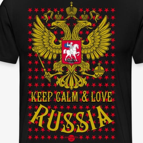 120 Keep Calm and Love Russia Wappen Sterne - Männer Premium T-Shirt