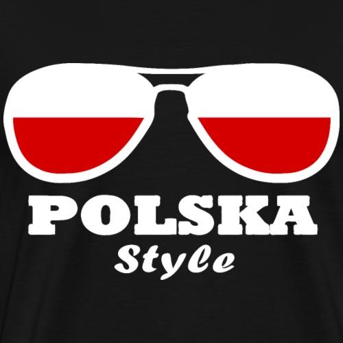 Poland flag - glasses style - Men's Premium T-Shirt