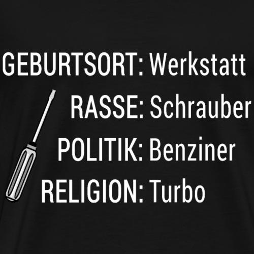 Rasse Schrauber Mechaniker Spruch Shirt Geschenk - Männer Premium T-Shirt