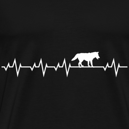 Herzschlag EKG Wolf Hund Shirt Geschenk - Männer Premium T-Shirt