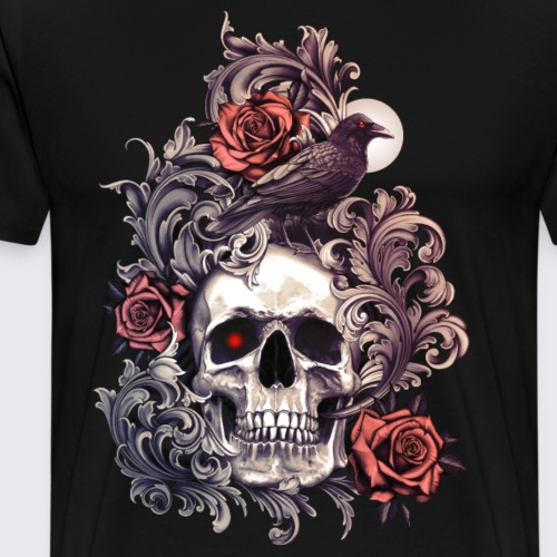 Skull Crow and Roses - Men's Premium T-Shirt