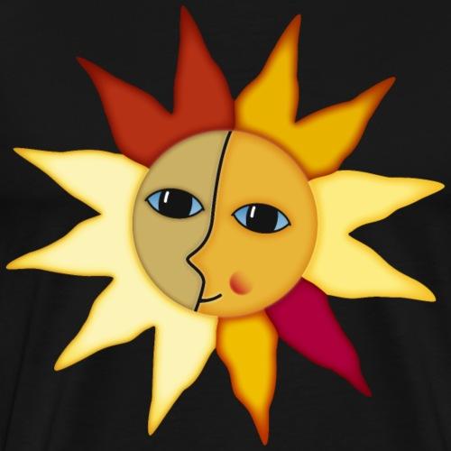Sonnenstrahlen Mond Gesicht Augenblick Glück hygge - Men's Premium T-Shirt