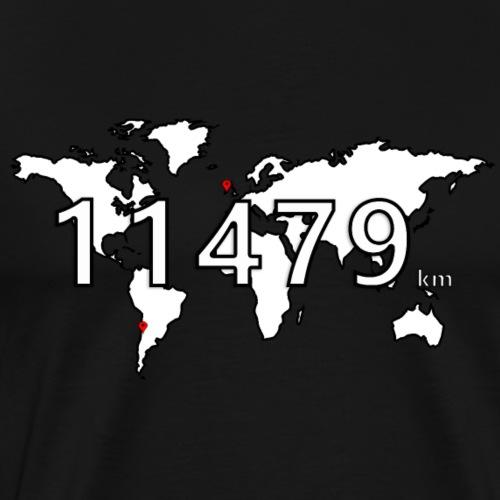 11479km : Santiago to Dublin (world map) - T-shirt Premium Homme