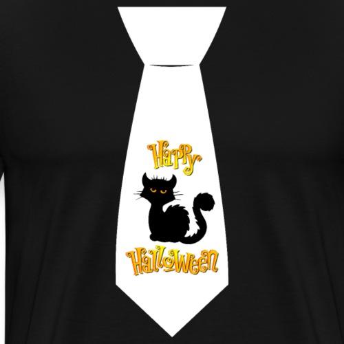 Katze Happy Halloween Krawatte Kostüm Geschenk - Männer Premium T-Shirt
