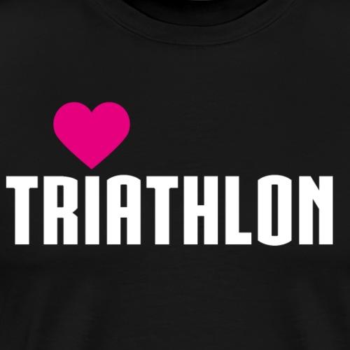TRIATHLON - Weiß - Herz pink - Männer Premium T-Shirt
