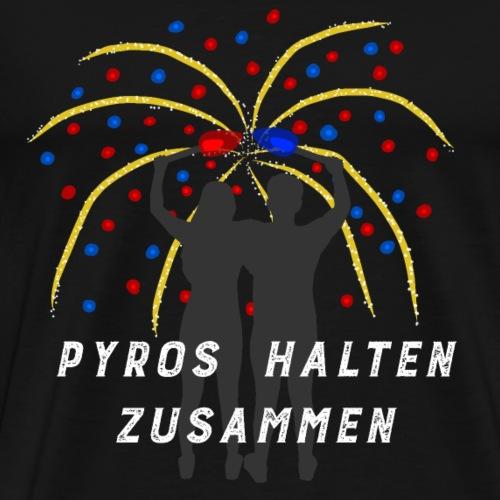 Feuerwerk gold-blau-rot PYROS HALTEN ZUSAMMEN - Männer Premium T-Shirt