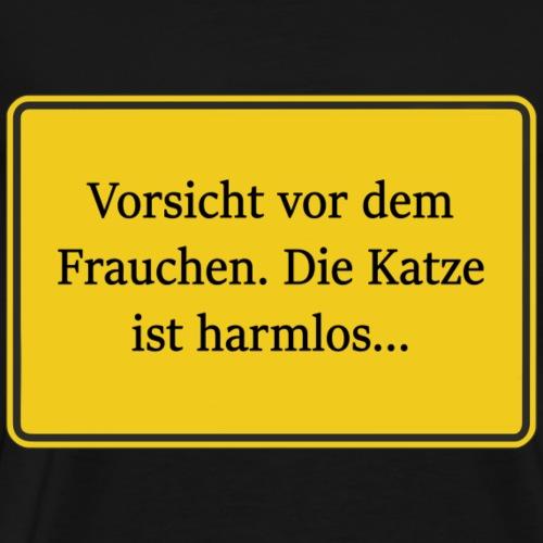Lustiges gelbes Schild Vorsicht Frauchen Katze - Männer Premium T-Shirt