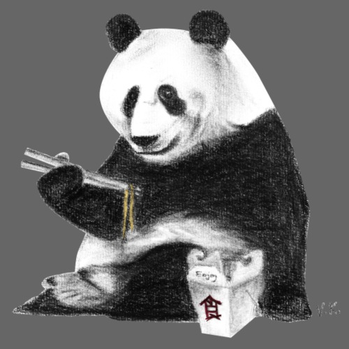 Panda Eating Noodles - Men's Premium T-Shirt