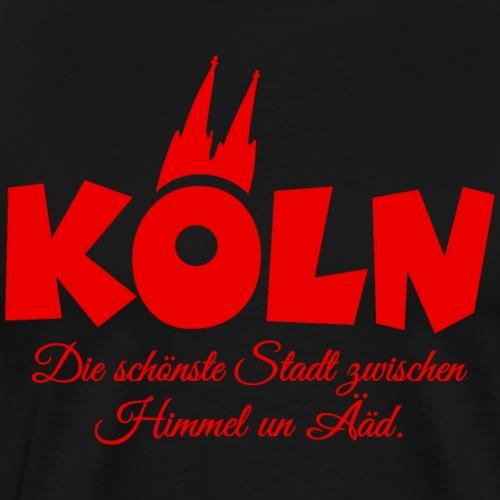Köln schönste Stadt zwischen Himmel un Ääd (Rot) - Männer Premium T-Shirt