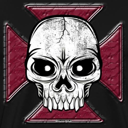 20-07 Iron Cross Skull, pääkallo tekstiilit ym. - Miesten premium t-paita