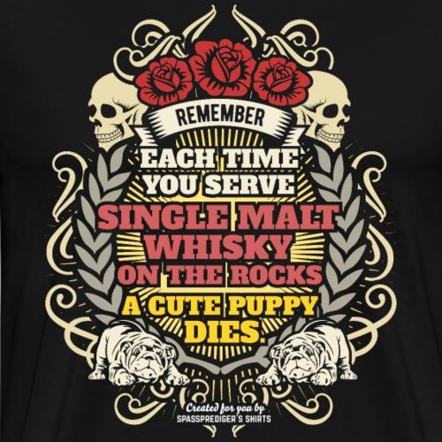 Whisky T Shirt Single Malt Whisky Cute Puppy - Männer Premium T-Shirt