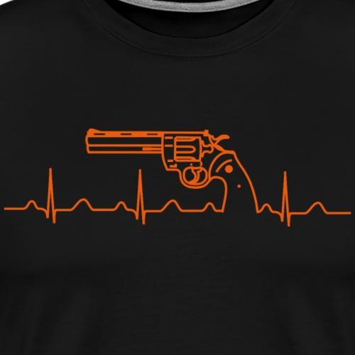 Revolver Colt Python Heartbeat orange - Männer Premium T-Shirt