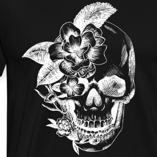 crâne et fleurs - T-shirt Premium Homme