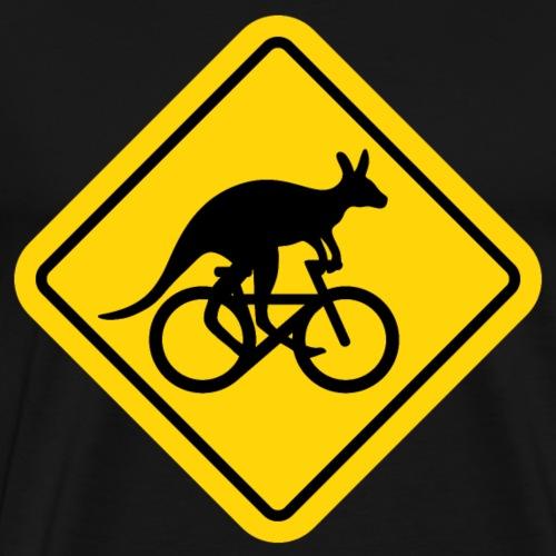 Känguru fährt Fahrrad lustiges Schild Australien - Männer Premium T-Shirt