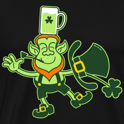 Leprechaun Balancing a Glass of Beer on his Head - Men's Premium T-Shirt