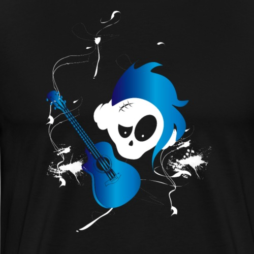 Eves Adam || Hairy Guitar Skully Blue - Männer Premium T-Shirt