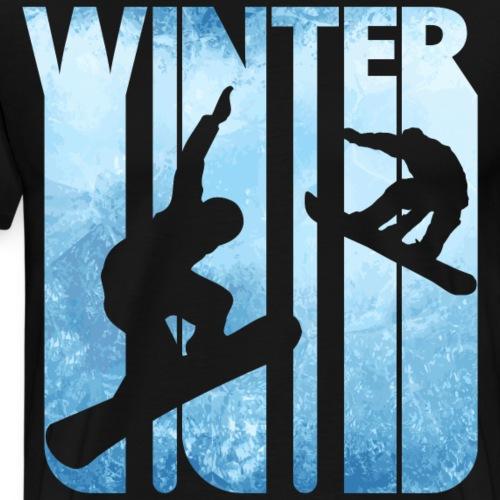 Vintage Winter Holiday Sports. Snowboarding Gifts. - Men's Premium T-Shirt