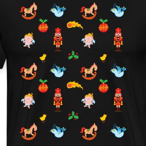 Nutcracker, angel, horse and bird Xmas pattern - Men's Premium T-Shirt