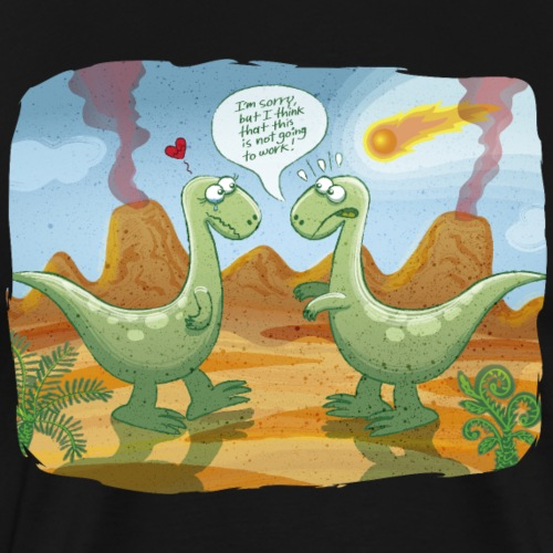 Dangerous meteorite threatening dinosaurs' love - Men's Premium T-Shirt