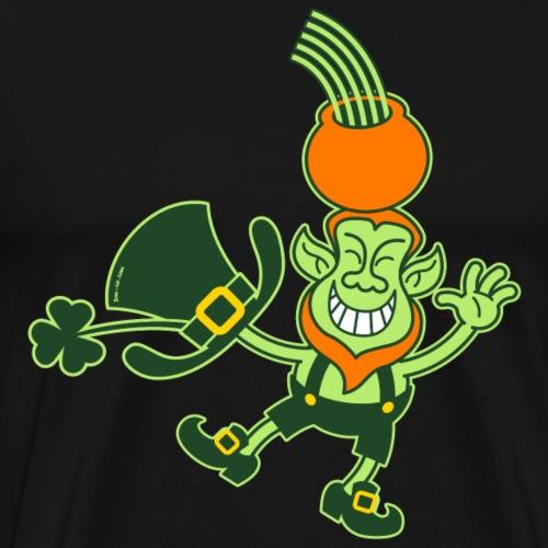 Green Leprechaun Balancing a Pot on his Head - Men's Premium T-Shirt
