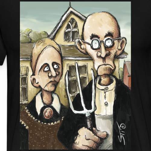 American Gothic - after Grant Wood - Men's Premium T-Shirt