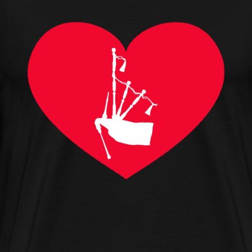 Dudelsack Herz - Männer Premium T-Shirt