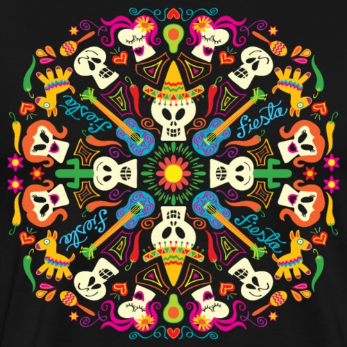 Cool Mexican Skulls Celebrating Day of the Dead - Men's Premium T-Shirt