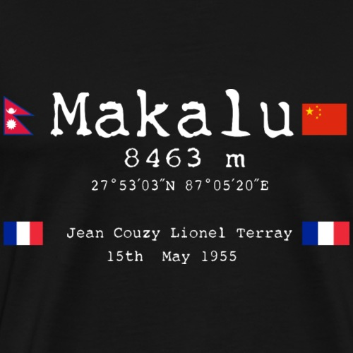 Makaluwhite - Maglietta Premium da uomo