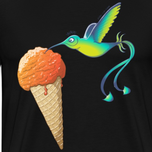 Summer Hummingbird Eating Ice Cream - Men's Premium T-Shirt